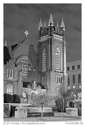 St Andrew Episcopal Cathedral at night. Jackson, Mississippi, USA (black and white)