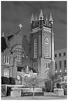 St Andrew Episcopal Cathedral at night. Jackson, Mississippi, USA ( black and white)