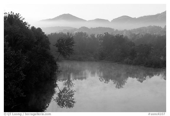 Lake along the Blue Ridge Parkway. Virginia, USA (black and white)