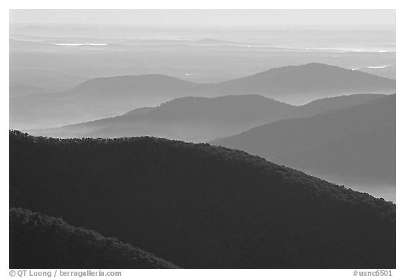 Ridges in haze, Blue Ridge Parkway. Virginia, USA (black and white)