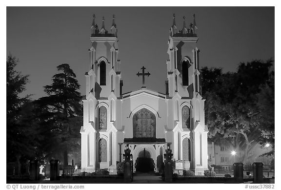 Trinity Episcopal Cathedral at night. Columbia, South Carolina, USA (black and white)