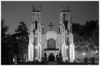 Trinity Episcopal Cathedral at night. Columbia, South Carolina, USA ( black and white)