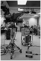 Television news studio. Columbia, South Carolina, USA ( black and white)