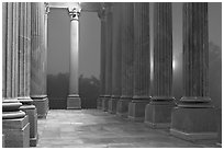 Columns and fog by night, state capitol. Columbia, South Carolina, USA (black and white)