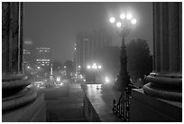 Streets on foggy night seen from state capitol. Columbia, South Carolina, USA (black and white)