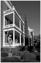 Gardens and Calhoon Mansion. Charleston, South Carolina, USA ( black and white)