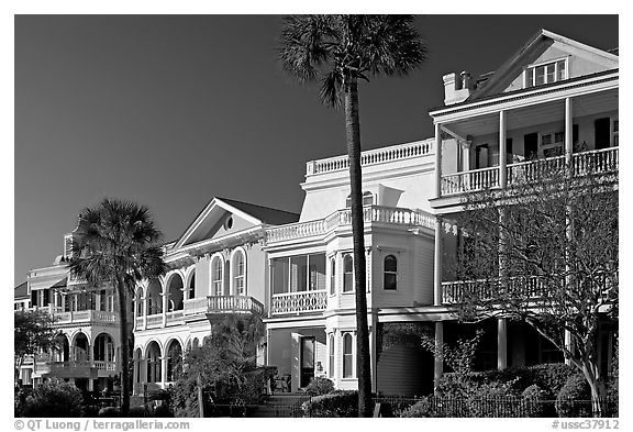 Row of Antebellum mansions. Charleston, South Carolina, USA