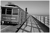 Waterfront promenade with shuttle bus. Charleston, South Carolina, USA ( black and white)