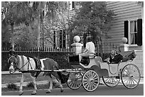 Couple on horse carriage tour of historic district. Charleston, South Carolina, USA (black and white)