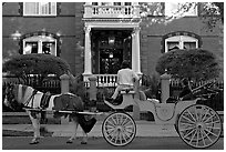 Horse carriage in front of historic mansion. Charleston, South Carolina, USA (black and white)