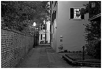 Alley at dusk. Charleston, South Carolina, USA ( black and white)