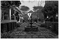 House garden at dusk. Charleston, South Carolina, USA ( black and white)