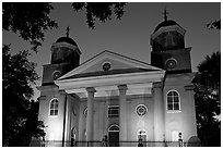 First Presbyterian Church, 1731, at twilight. Charleston, South Carolina, USA (black and white)