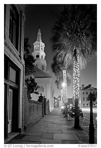 St Michael Episcopal Church, sidewalk, and palm trees at night. Charleston, South Carolina, USA (black and white)