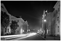 Four Corners of Law (church, courthouses, city hall) at night. Charleston, South Carolina, USA (black and white)