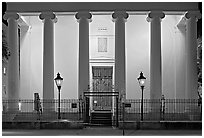 Museum facade at night. Charleston, South Carolina, USA ( black and white)