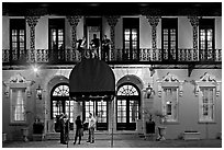 Mills house hotel facade with balconies at night. Charleston, South Carolina, USA ( black and white)