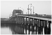 Bridge at sunrise. Beaufort, South Carolina, USA (black and white)
