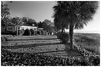 House with yard by the bay. Beaufort, South Carolina, USA ( black and white)
