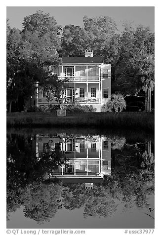 House reflected in pond. Beaufort, South Carolina, USA (black and white)