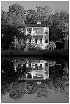 House reflected in pond. Beaufort, South Carolina, USA ( black and white)
