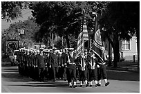 US Navy marching during parade. Beaufort, South Carolina, USA ( black and white)