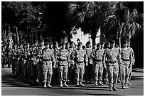 Army men marching during parade. Beaufort, South Carolina, USA ( black and white)