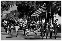 Beaufort high school band during parade. Beaufort, South Carolina, USA (black and white)
