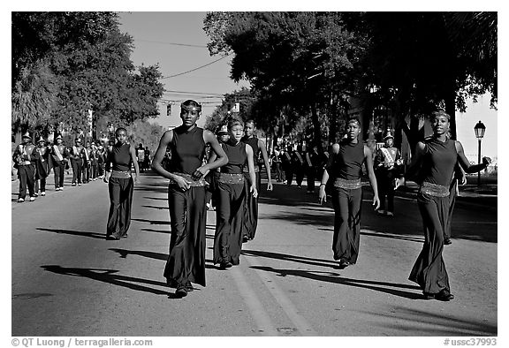 African American youngsters during parade. Beaufort, South Carolina, USA (black and white)
