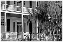 Facade with balconies, columns, and spanish moss. Beaufort, South Carolina, USA (black and white)