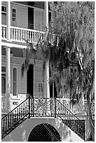 House entrance with spanish moss. Beaufort, South Carolina, USA (black and white)