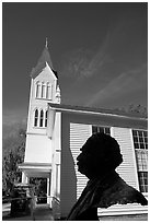 Robert Smalls bust and Tabernacle Baptist Church. Beaufort, South Carolina, USA ( black and white)