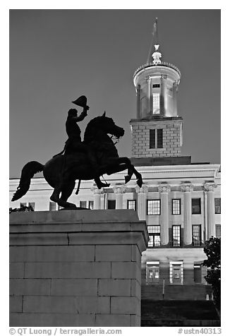 Jackson statue and Tennessee State Capitol by night. Nashville, Tennessee, USA (black and white)