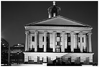 Greek Revival style Tennessee State Capitol by night. Nashville, Tennessee, USA (black and white)