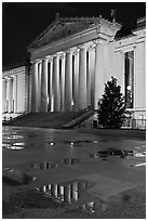 War memorial and reflections by night. Nashville, Tennessee, USA (black and white)