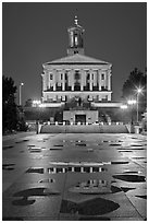 State Capitol and reflectoins by night. Nashville, Tennessee, USA (black and white)