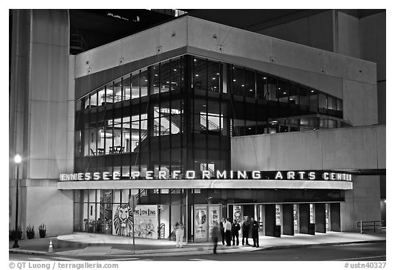 Tennessee Performing Arts Center at night. Nashville, Tennessee, USA (black and white)
