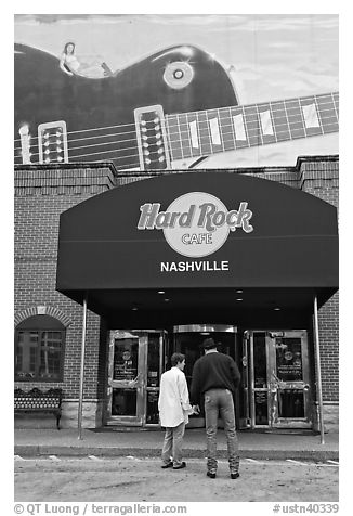 Entrance and mural, Hard Rock Cafe. Nashville, Tennessee, USA (black and white)