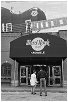 Entrance and mural, Hard Rock Cafe. Nashville, Tennessee, USA ( black and white)