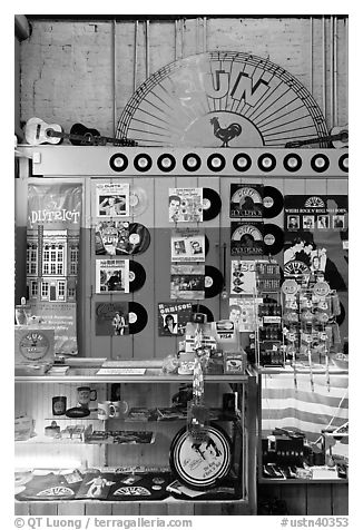 Vinyl records on display, Sun record company. Nashville, Tennessee, USA (black and white)