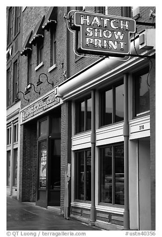 Hatch Show print poster print shop. Nashville, Tennessee, USA (black and white)