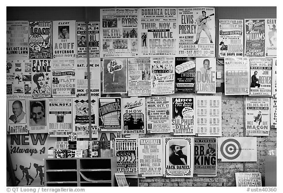 Black and white picture photo posters on display hatch show print nashville tennessee usa