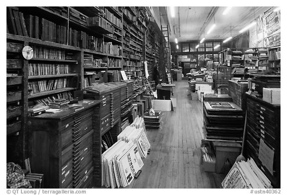 Inside poster print shop, Hatch Show,. Nashville, Tennessee, USA (black and white)