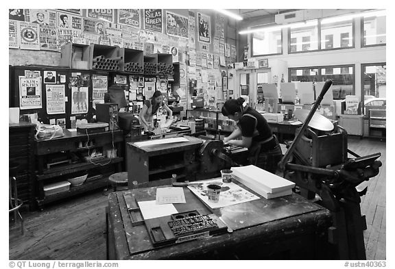 Hatch Show Print, one of the oldest poster shops in the country. Nashville, Tennessee, USA (black and white)