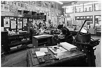 Hatch Show Print, one of the oldest poster shops in the country. Nashville, Tennessee, USA ( black and white)