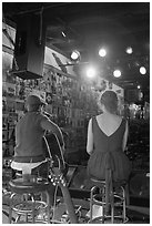 Singers from behind scene at Tootsie Orchid Lounge. Nashville, Tennessee, USA (black and white)