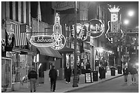 Beale Street sidewalk by night. Memphis, Tennessee, USA ( black and white)