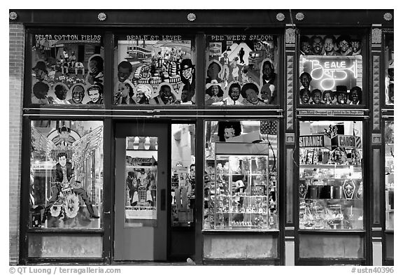 Black and white picture photo store on beale street by night memphis tennessee usa