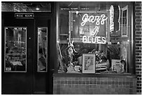 Storefront of bar with Jazz and Blues life performances. Memphis, Tennessee, USA ( black and white)