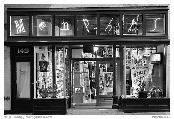 Black and white picture photo memphis store on beale street by night memphis tennessee usa
